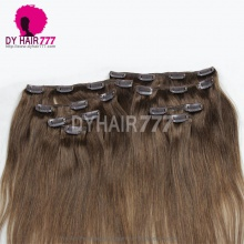 Brown Color 4 Clip In Hair Extensions Straight 100% Human Hair