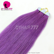 Purple Tape Hair Extension Virgin Hair Straight 20pcs 50g