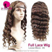 4# Top Quality Virgin Human Hair Loose Wave Full Lace Wigs