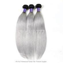 Royal Cambodian Virgin Hair Straight 3 or 4 Bundles Silver Grey Ombre Hair