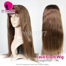4# Top Quality Virgin Human Hair Straight Hair Lace Frontal Wigs