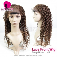 4# Top Quality Virgin Human Hair Deep Wave Lace Frontal Wigs