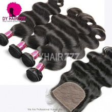 Best Match 4*4 Silk Base Closure With 3 or 4 Bundles Royal Virgin Brazilian Body Wave Human Hair Extensions