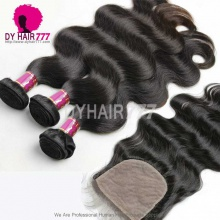 Best Match 4*4 Silk Base Closure With 3 or 4 Bundles Brazilian Body Wave Royal Virgin Human Hair Extensions