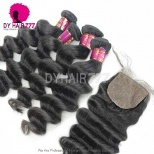 Best Match 4*4 Silk Base Closure With 3 or 4 Bundles Royal Virgin Brazilian Loose Wave Human Hair Extensions