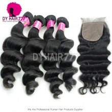 Best Match Silk Base Closure With 4 Bundles Royal Virgin Malaysian Loose Wave Human Hair Extensions