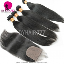 Best Match Silk Base Closure With 4 Bundles Indian Silky Straight Hair Standard Virgin Remy Hair Extensions