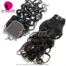 Best Match Top Lace Closure With 4 or 3 Bundles Indian Natural Wave Standard Virgin Human Hair Extensions