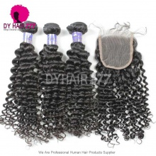 Royal 3 or 4 Bundles Deep Curly Cambodian Virgin Human Hair With Lace Top Closure Best Match