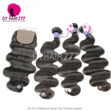 Royal Cambodian Virgin Hair 3 or 4 Bundles Body Wave With 4*4 Silk Base Closure Best Match