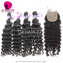 Best Match 4*4 Silk Base Closure With 3 or 4 Bundles Indian Deep Wave Standard Virgin Human Hair Extensions