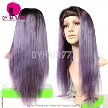 130% Density Lace Front Wig Color 1B/Purple Ombre Straight Hair Virgin Human Lace Wig