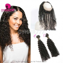 Royal Grade 2 or 3 Bundles Virgin European Deep Curly With 360 Lace Frontal Hair Extensions