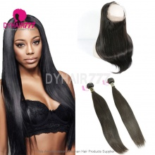 Royal Grade 2 or 3 Bundles Virgin European Straight Hair With 360 Lace Frontal Hair Extensions