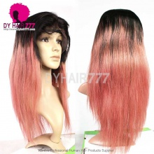 130% Density Lace Front Wig Color 1B/Pink Ombre Straight Hair Virgin Human Lace Wig