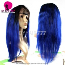 130% Density Lace Front Wig Color 1B/Blue Ombre Straight Hair Virgin Human Lace Wig
