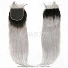 Lace Top Closure (4*4) Straight Hair 1B/Grey Human Virgin Hair