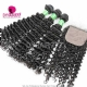 Best Match 4*4 Silk Base Closure With 3 or 4 Bundles Brazilian Deep Curly Standard Virgin Human Hair Extensions