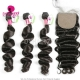 Best Match 4*4 Silk Base Closure With 3 or 4 Bundles Malaysian Loose Wave Standard Virgin Human Hair Extensions