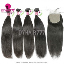 Best Match Silk Base Closure With 4 Bundles Malaysian Silky Straight Hair Standard Virgin Remy Hair Extensions