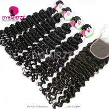 Best Match Top Lace Closure With 4 or 3 Bundles Standard Virgin Malaysian Deep Wave Human Hair Extensions