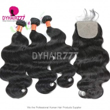 Best Match 4*4 Silk Base Closure With 3/4 Bundles Standard Virgin Hair Burmese Body Wave Human Hair Extenions