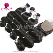 Best Match 4X4 Silk Base Closure With 3 or 4 Bundles Standard Virgin Hair Mongolian Body Wave Human Hair Extenions