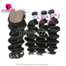 Best Match 4*4 Silk Base Closure With 3 or 4 Bundles Peruvian Loose Wave Royal Virgin Human Hair Extensions