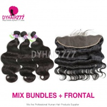 Lace Frontal With 3 Bundle Cambodian Body Wave Standard Virgin Hair Human Hair Extenion