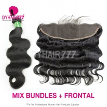 Lace Frontal With 3 Bundles Brazilian Body Wave Standard Virgin Hair Human Hair Extenions