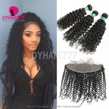 Lace Frontal With 3 Bundles Brazilian Deep Curly Standard Virgin Human Hair Extensions