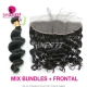 Lace Frontal With 3 Bundles Standard Virgin Mongolian Loose Wave Human Hair Extensions