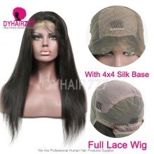 130% density Human hair silk base top closure Full lace wigs Straight Hair natural color