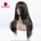 1B# Royal Virgin Human Hair Straight Hair Lace Front Wigs With Bangs