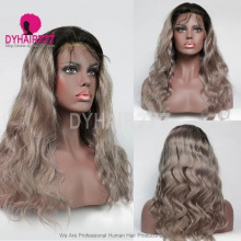 130% Density Lace Front Wig Ombre Color 1B/Grey Body Wave Virgin Hair Human Lace Wig