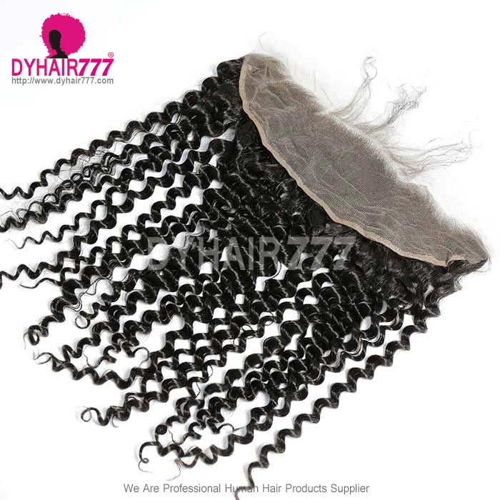 Ear to Ear 13*4 Lace Frontal Closure Human Virgin Hair Italian Curly Natural Color
