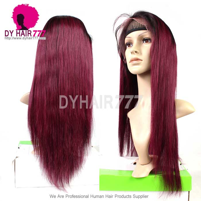 130 density lace front wig color 1b99j ombre straight