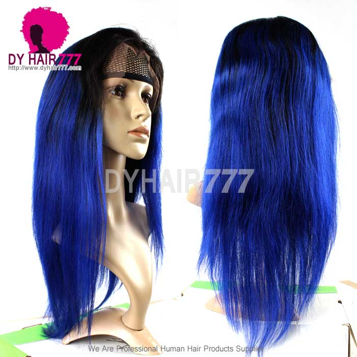130 Density Lace Front Wig Color 1b Blue Ombre Straight