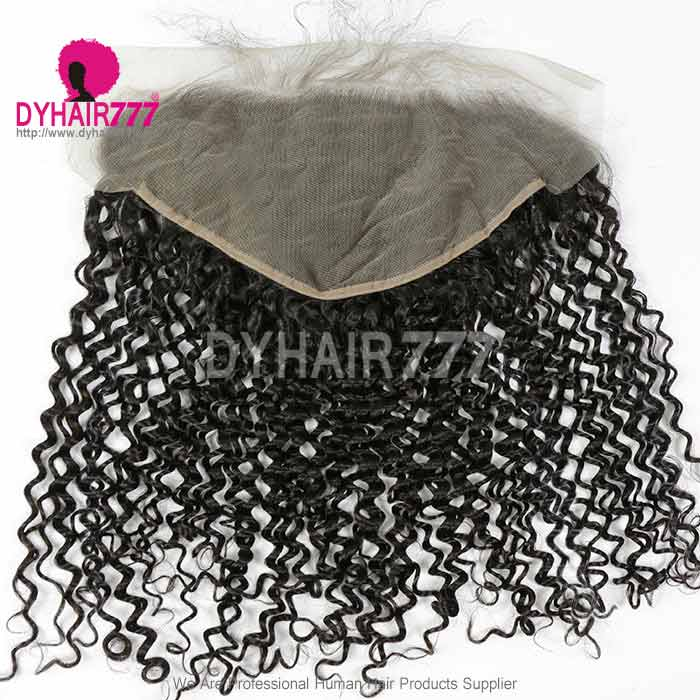 Ear to Ear 13*6Lace Frontal Closure Curved Lace Deep Curly Human Virgin Hair Natural Color