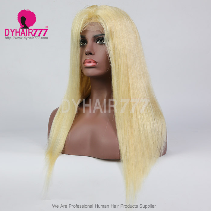 #613 Wig 130% density Virgin Human Hair Straight Blonde Lace Front Wigs With Nautal Hairline