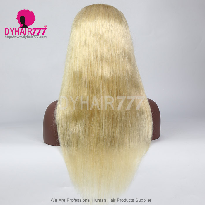 #613 Wig 13X4 Front 130% density Virgin Human Hair Straight Blonde Lace Front Wigs With Nautal Hairline