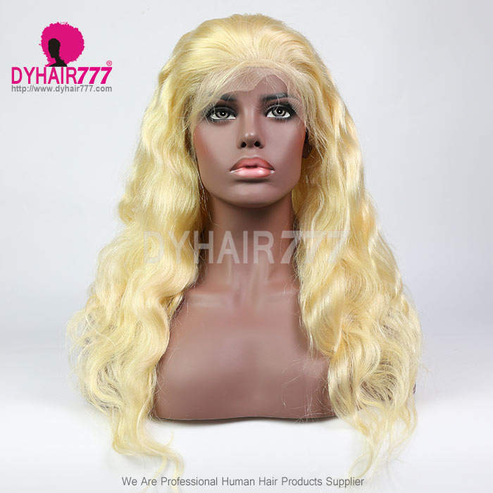 #613 Wig 13X4 Front 130% density Virgin Human Hair Body Wave Blonde Lace Front Wigs With Nautal Hairline