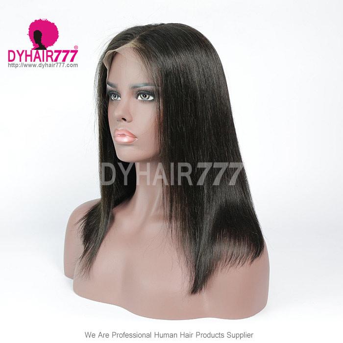 150% Density Blunt Wig Centre Part Short Bob Wig Straight Hair 100% Human Hair Natural Color