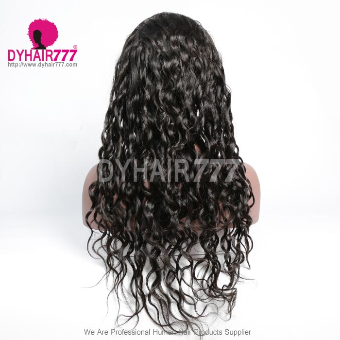 130% Density 1B# Top Quality Virgin Human Hair Natural Wave Lace Frontal Wigs