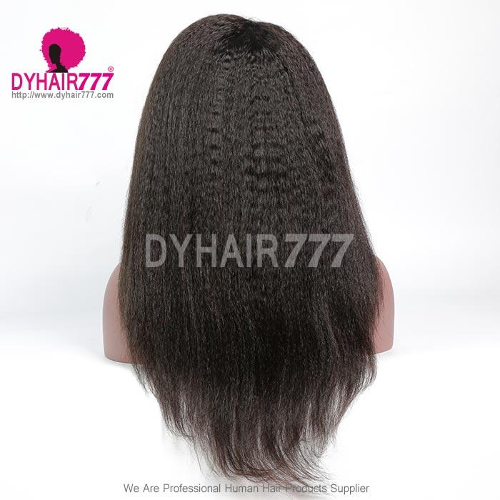 130% density Royal Virgin Human Hair Kinky straight Hair Lace Front Wigs Natural Color