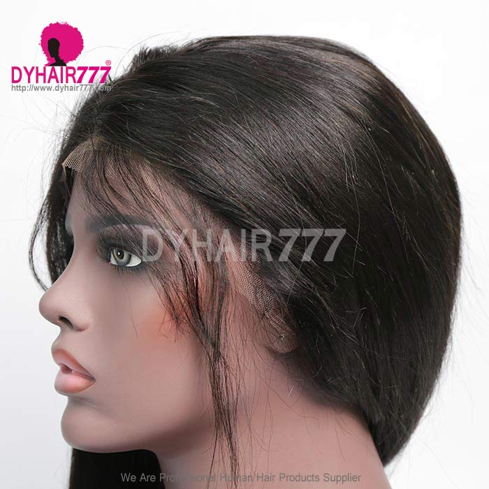 300% Density Lace Frontal Wigs Straight Hair Virgin Human Hair Natural Color