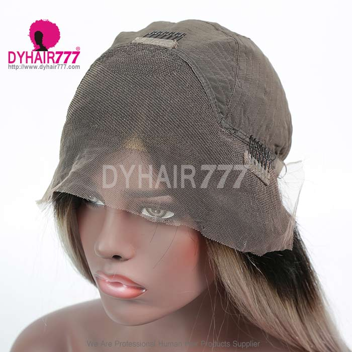 150% Density Bob Lace Front Wig Ombre Color 1B/Grey Straight Virgin Human Lace Wig