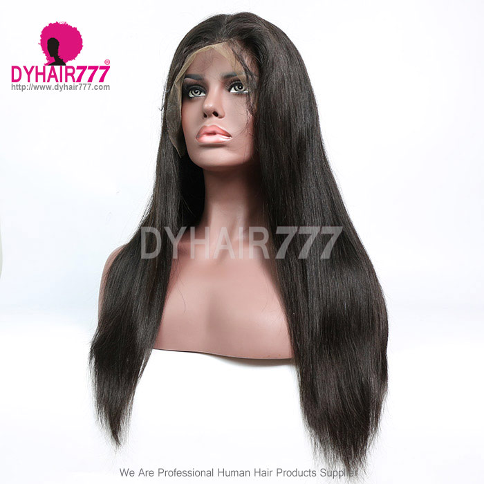 130% Density 1B# Top Quality Virgin Human Hair Straight Hair Full Lace Wigs Natural Color