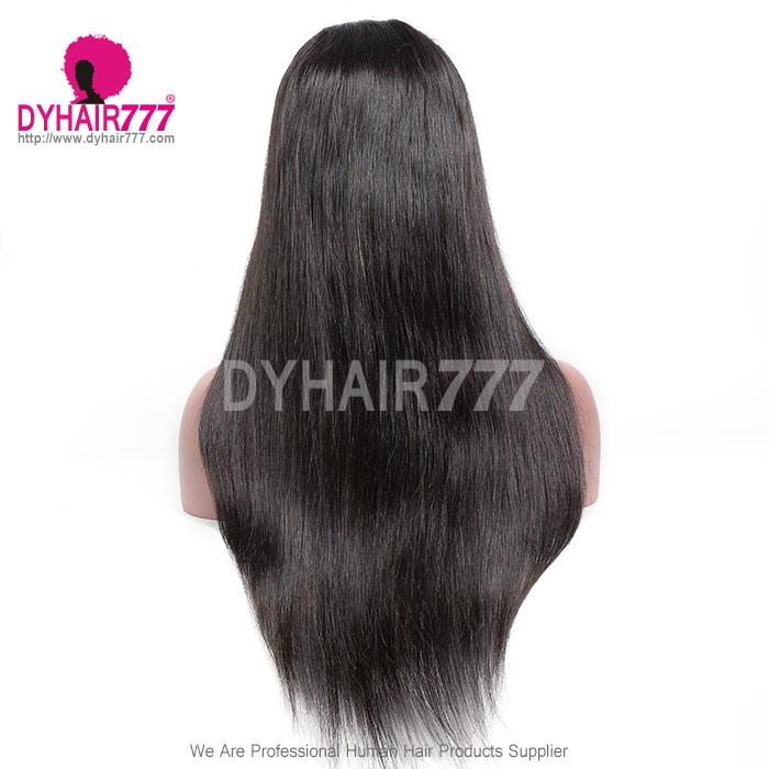 130% Density #1B Virgin Human Hair U Part Wigs Straight Hair Lace Front Wig