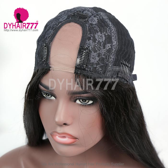130% Density #1B Virgin Human Hair U Part Wigs Straight Hair Lace Front Wig